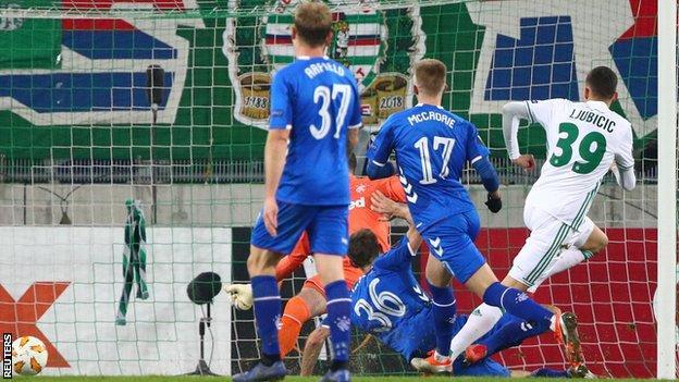 Rapid Vienna's Dejan Ljubicic scores against Rangers