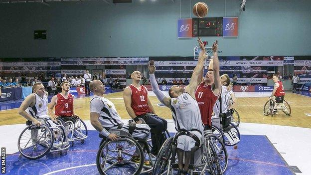 Great Britain score towards the end of their game against Germany