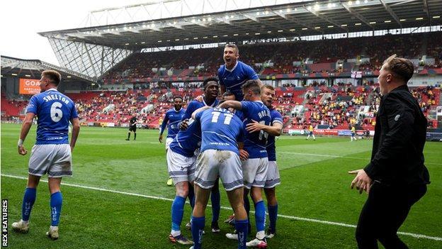 Hartlepool celebrate their goal at Ashton Gate