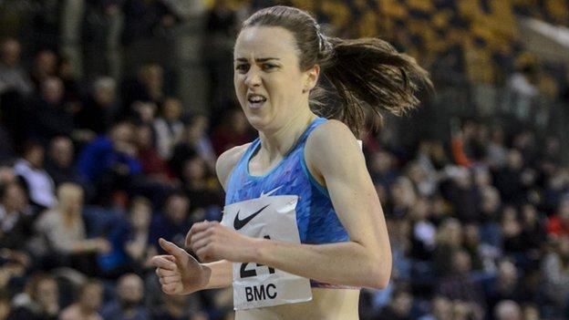 Laura Muir competes at the GAA Miller Meet in Glasgow on Sunday