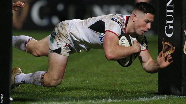 John Cooney goes over for an Ulster try during a successful first season with the Irish team