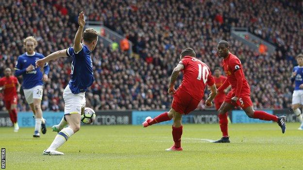 Liverpool's Philippe Coutinho scores against Everton