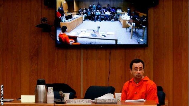 Larry Nassar sitting in court