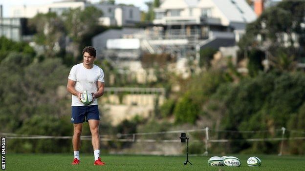 New Zealand and Blues back Beauden Barrett has been doing kicking practice in isolation