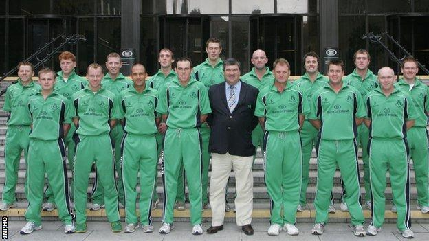 Torrens and the Ireland's 2007 World Cup squad are photographed before their departure to the Caribbean