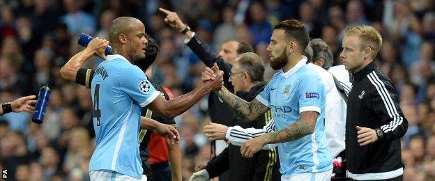 Nicolas Otamendi made his debut for Manchester City when he replaced Vincent Kompany