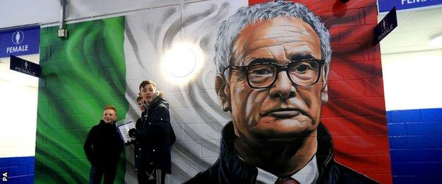 Claudio Ranieri mural at the King Power Stadium