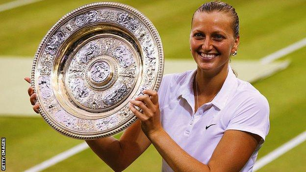 Petra Kvitova with the Wimbledon trophy