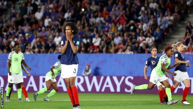 Wendie Renard reacts after missing her penalty