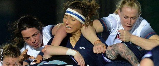 Emma Wassell playing for Scotland