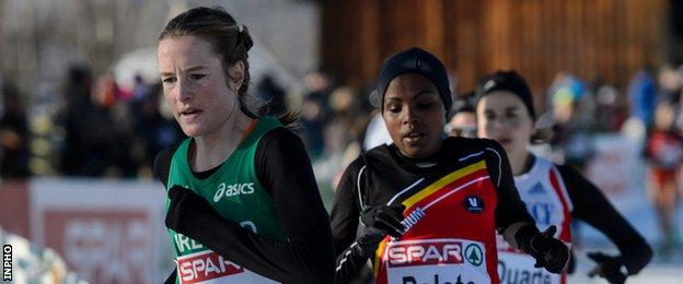Fionnuala McCormack on the way to retaining the European Cross Country title in Budapest in 2012