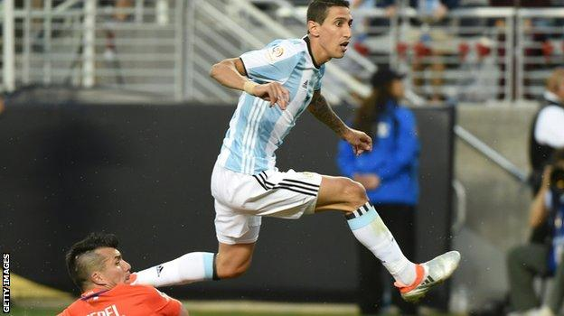 Angel di Maria scores for Argentina against Chile