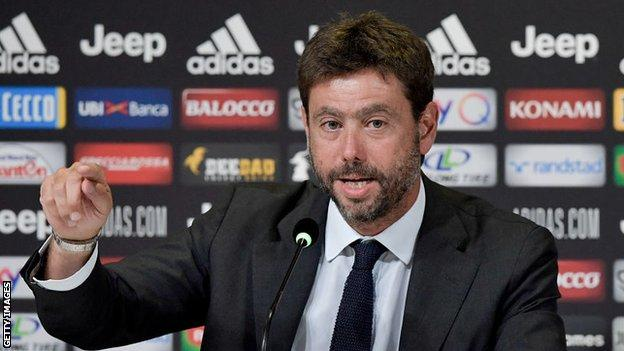 Andrea Agnelli at a news conference
