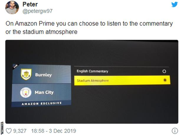 Tweet saying 'On Amazon Prime you can choose to listen to the commentary or the stadium atmosphere'