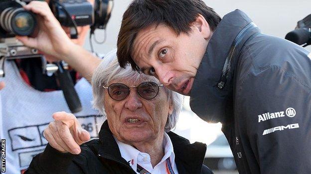 Bernie Ecclestone and Toto Wolff