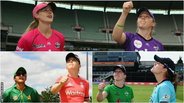 Heather Knight tossing the coin with Ellyse Perry, Bismah Maroof and Natalie Sciver