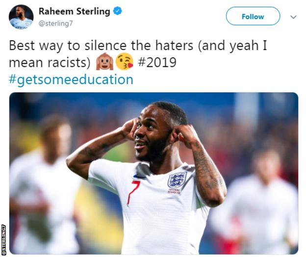 """Raheem Sterling's Twitter post after England players were subjected to racist chants during a 5-1 win in Montenegro: """"Best way to silence the haters (and yeah, I mean racists)"""""""