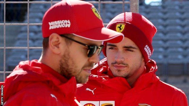 Ferrari's Sebastian Vettel and Charles Leclerc