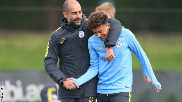 Pep Guardiola worked with Jadon Sancho before he left Manchester City