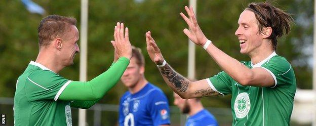 Celtic scorers Leigh Griffiths and Stefan Johansen celebrate