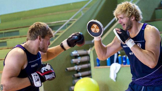 Scotland's Jonny and Ritchie Gray square up during some martial arts training