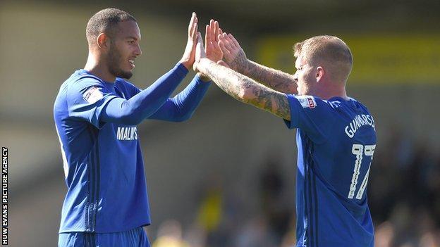 Kenneth Zohore and Aron Gunnarsson celebrate against Burton