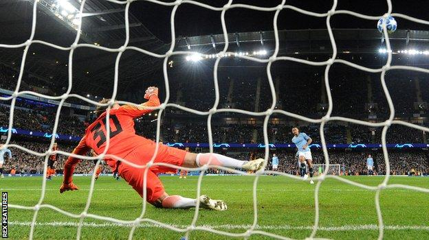 Gabriel Jesus scores one of his two penalties against Shakhtar Donetsk. The Brazilian went on to complete his hat-trick