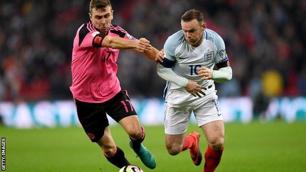 Wayne Rooney battling for possession