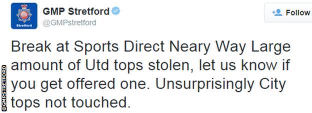 Police tweet joke about man City