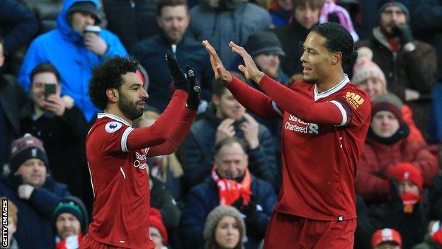 Liverpool's Mohamed Salah and Virgil van Dijk