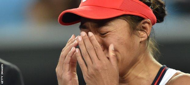 Zhang Shuai breaks down after her surprise win
