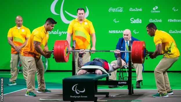 GB powerlifter Micky Yule in action at Rio 2016