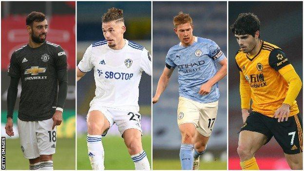 Midfielders Bruno Fernandes, Kalvin Phillips, Kevin de Bruyne & Pedro Neto