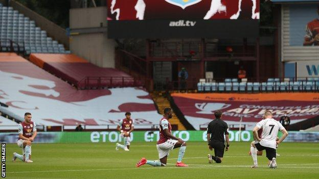 Aston Villa and Sheffield United players take a knee prior to kick-off