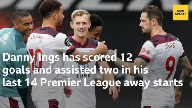 Danny Ings has scored 12 goals and assisted two in his last 14 away Premier League starts.
