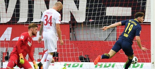 Oliver Burke scores for Red Bull Leipzig against Cologne