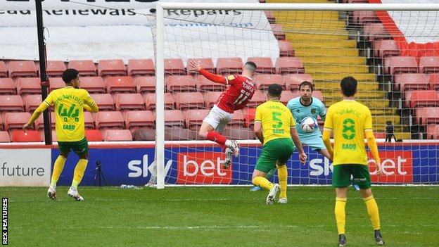 Conor Chaplin scores for Barnsley against Norwich City