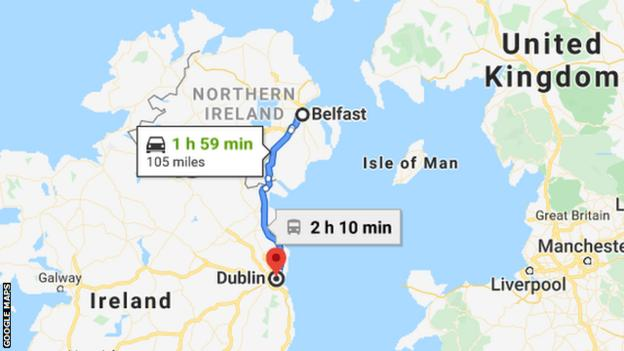 A map showing the route from Belfast to Dublin