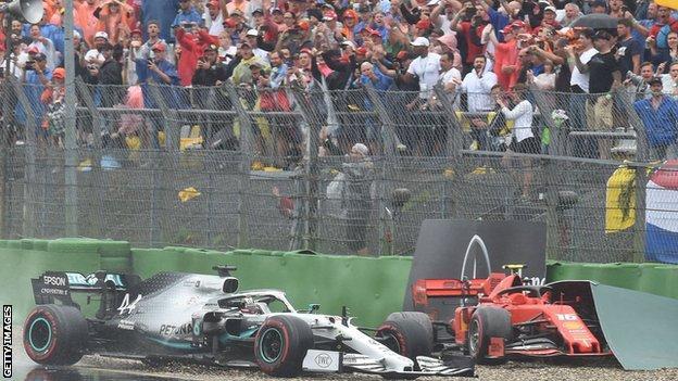 Lewis Hamilton and Charles Leclerc crash at the German Grand Prix