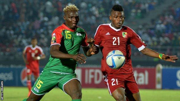 Aristide Bance in action for Burkina Faso against Congo Brazzaville