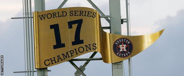 A flag commemorating Houston's World Series victory in 2017