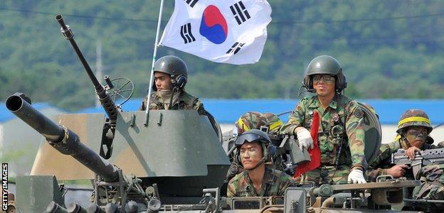 South Korean soldiers training