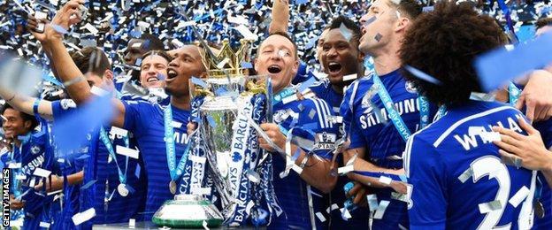 Chelsea celebrate winning Premier League title