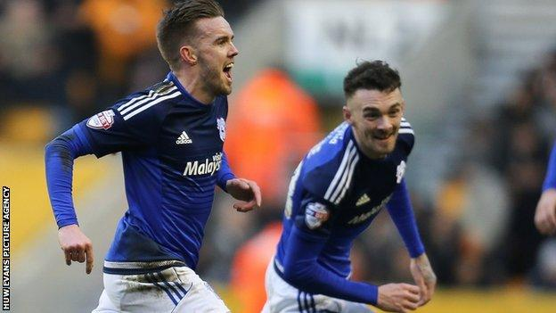 Craig Noone scored celebrates scoring one of his two goals against Wolves