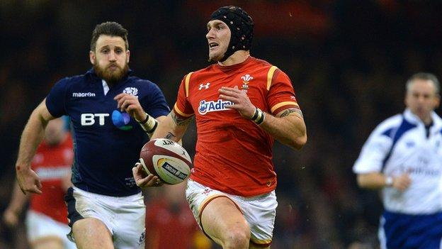 Tom James in action for Wales against Scotland