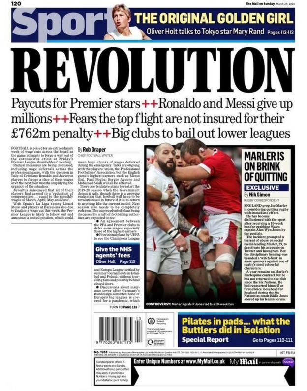 Mail on Sunday back page on Sunday, 29 March