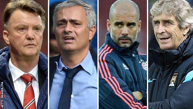Louis Van Gaal, Jose Mourinho, Pep Guardiola and Manuel Pellegrini