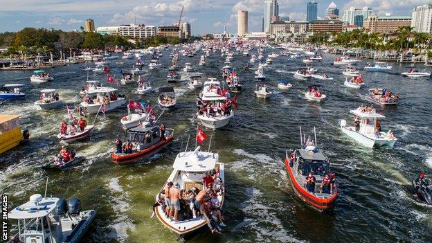 Drone shot of the Tampa Bay Buccaneers' victory boat parade