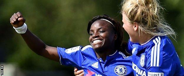 Eniola Aluko (l) celebrates her second goal against Birmingham City