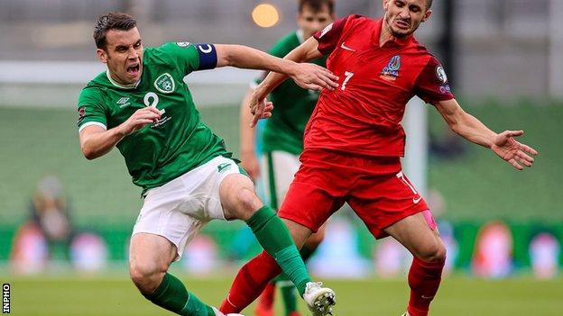 Seamus Coleman battles with Azerbaijan's Maksim Alaskarov in last month's World Cup qualifier in Dublin